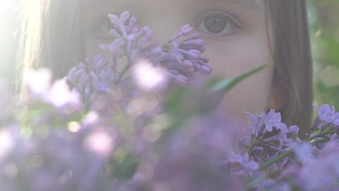 Girl Is Enjoying The Scent Of Lilac. Breathes The Fragrance Of Flowers Footage