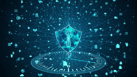 Shield Icon of secure data network, Cyber security and information network protection, Future Animation