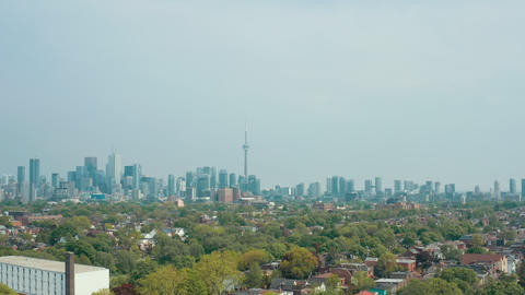 Aerial view of residential homes in Toronto, Ontario in late spring Live Action