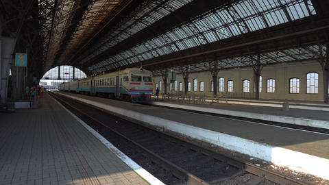 Platform at Lviv railway station in summer Footage
