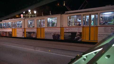 Tram on the Liberty Bridge in Budapest Footage