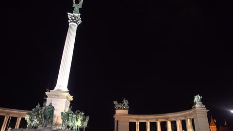 People on the Heroes Square in Budapest at night Live Action