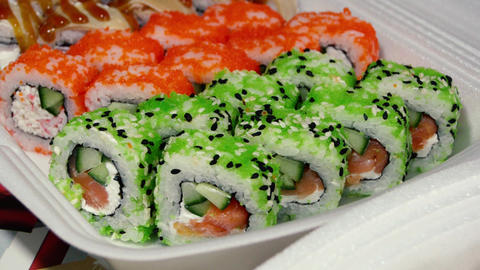 Sushi roll japanese food video Footage