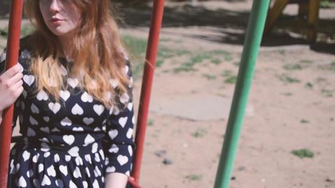 Beautiful girl like swing video Footage