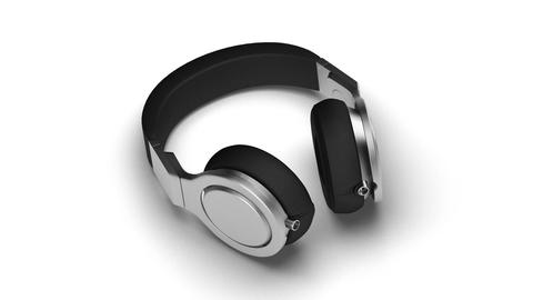 black headphones on white 3d render Isometric view Live Action