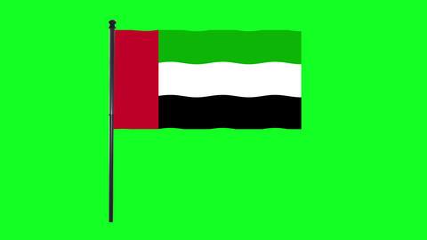 4K the United Arab Emirates flag is waving in green screen Animation