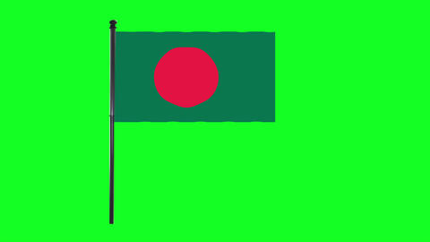 4K Bangladesh flag is waving in green screen Animation