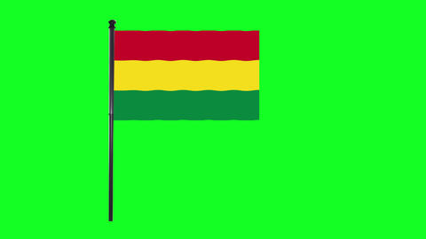 4K Bolivia flag is waving in green screen Animation