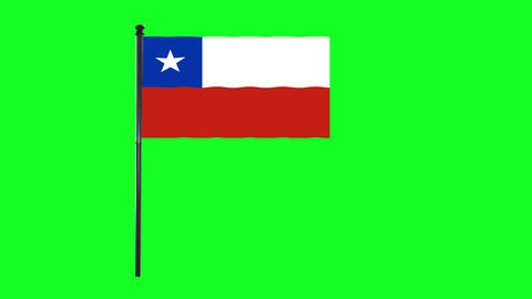 4K Chilean, of Chile flag is waving in green screen Animation