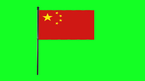 4K China flag is waving in green screen Animation