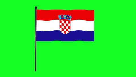 4K Croatia, Croatian flag is waving in green screen Animation