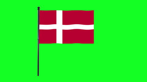 4K Denmark, Danish flag is waving in green screen Animation