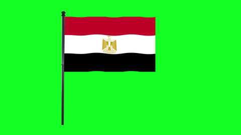 4K Egypt flag is waving in green screen Animation