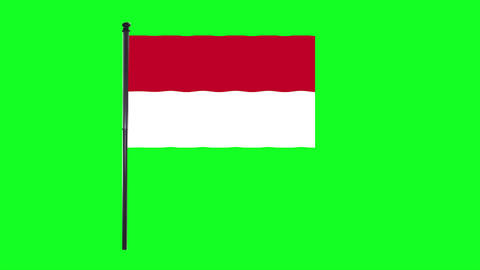 4K Indonesia, Indonesian flag is waving in green screen Animation