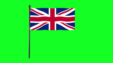 4K United Kingdom, England or British Flag is waving in green screen Animation