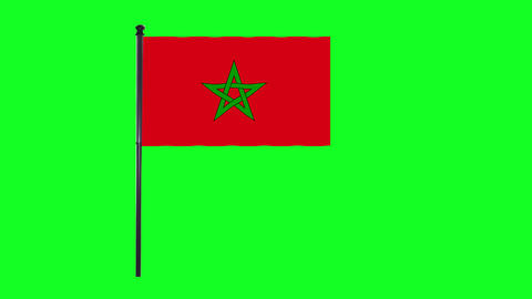 4K Morocco flag is waving in green screen Animation