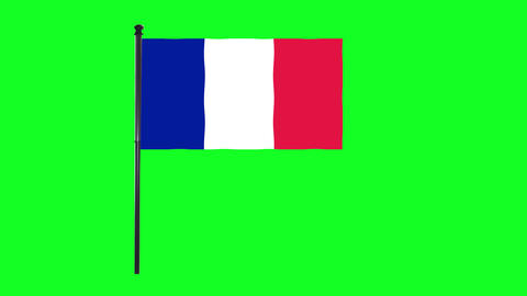 4K France Flag is waving in green screen Animation