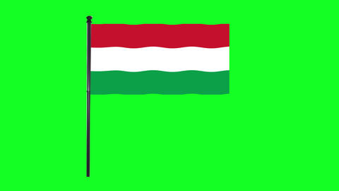 4K Hungary flag is waving in green screen Animation