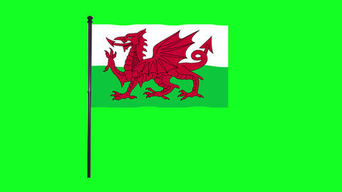 4K Wales flag is waving in green screen Animation