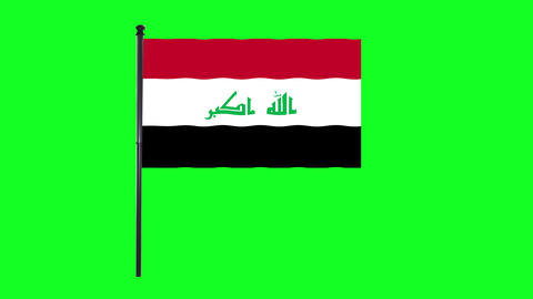 4K Iraq flag is waving in green screen Animation