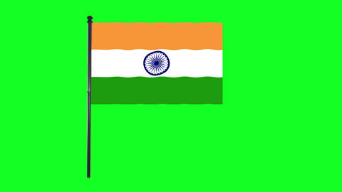 4K India Flag is waving in green screen Animation