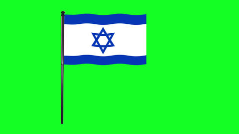 4K Israel flag is waving in green screen Animation
