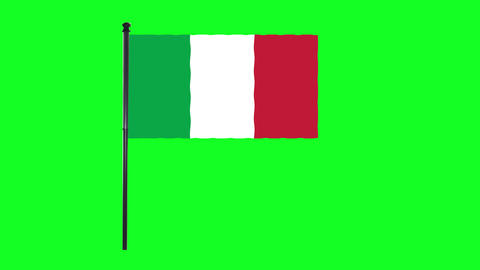 4K Italy, Italian flag is waving in green screen Animation