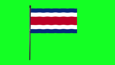 4K Costa Rica flag is waving in green screen Animation