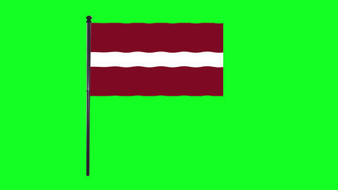 4K Latvia flag is waving in green screen Animation