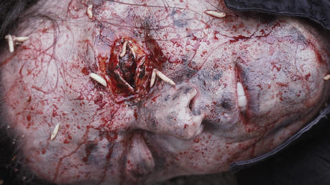 Makeup of a dead man with dirt, blood and maggots on his face Live Action