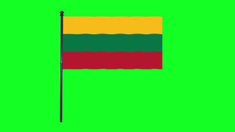 4K Lithuania flag is waving in green screen Animation