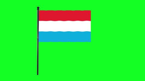 4K Luxembourg flag is waving in green screen Animation