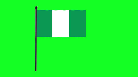 4K Nigeria flag is waving in green screen Animation