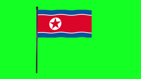 4K North Korea flag is waving in green screen Animation