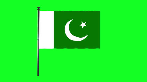 4K Pakistan flag is waving in green screen Animation