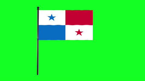 4K Panama flag is waving in green screen Animation