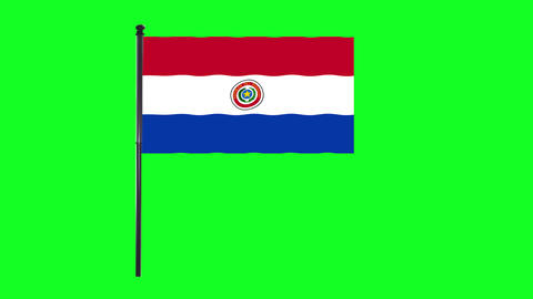 4K Paraguayan, of Paraguay flag is waving in green screen Animation