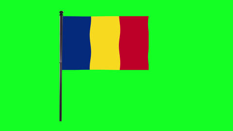 4K Romania flag is waving in green screen Animation
