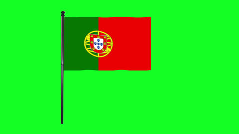 4K Portugal, Portuguese flag is waving in green screen Animation