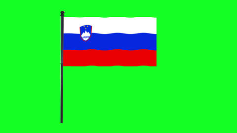 4K Slovenia flag is waving in green screen Animation