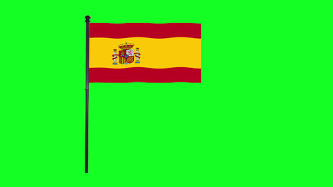 4K Spain, Spanish flag is waving in green screen Animation
