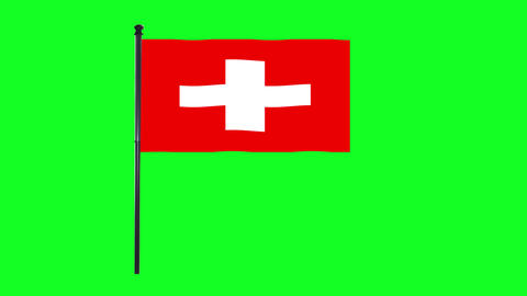 4K Switzerland, Swiss flag is waving in green screen Animation