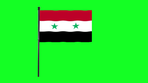 4K Syrian, Syria flag is waving in green screen Animation