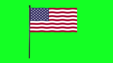 4K United States of America Flag is waving in green screen Animation