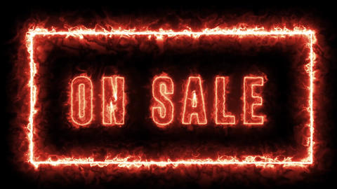 Fire style ON SALE text animation. Isolated video for sale, black friday, shopping, stores, Animation