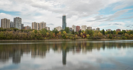Autumn Timelapse Of Riverside Condominiums, Apartments In city Footage