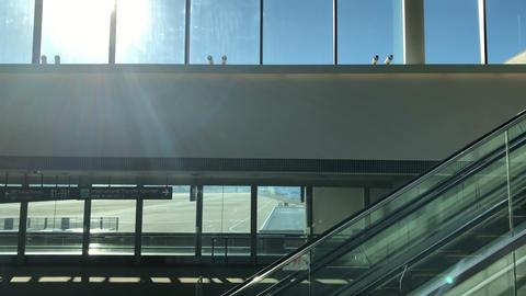 Escalator down in terminal at Narita international airport Footage