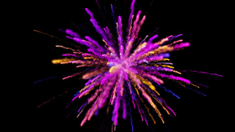 Colorful powder explosion on black background looped Animation