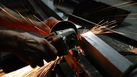 Close Up Metal Sawing With Circular Blade Footage