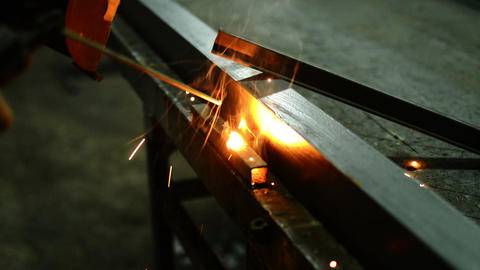 Welder Works With Welding Machine Footage